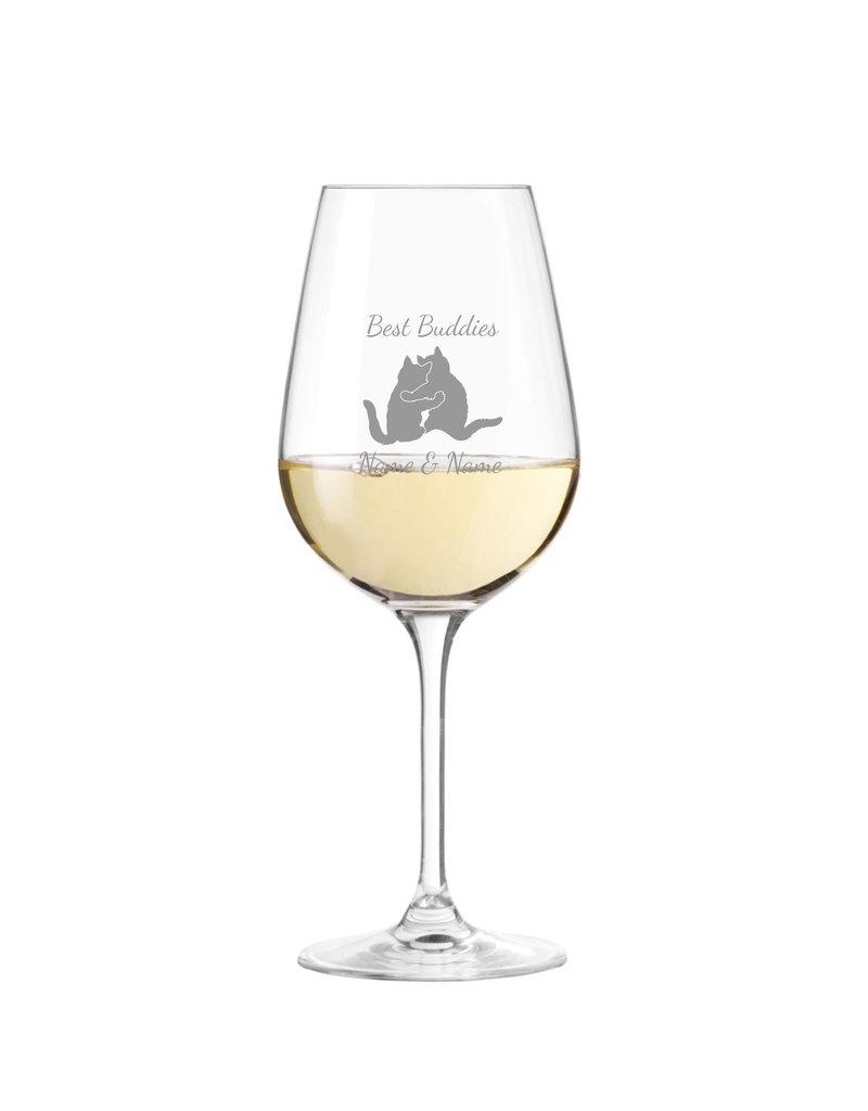 Leonardo Stoßt gemeinsam auf eure Freundschaft an, mit dem Weinglas mit persönlicher Gravur!
