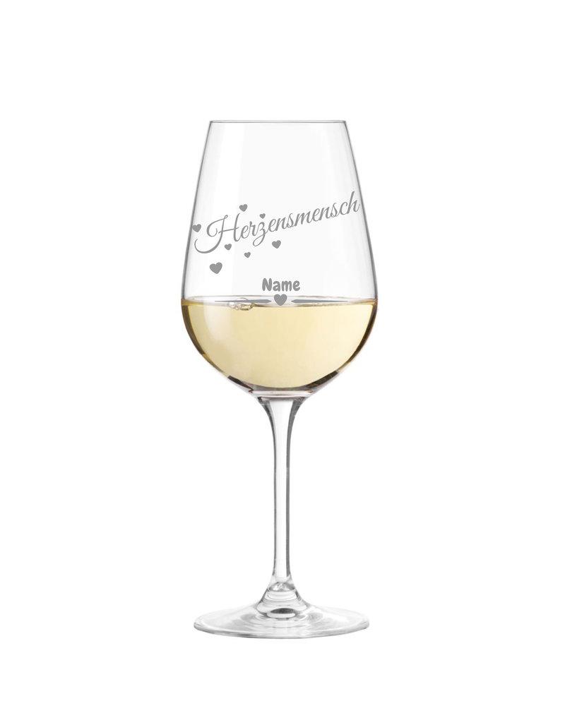 """Leonardo Ein Geschenk der Extratraklasse! Das Weinglas mit dem Schriftzug """"Herzensmensch"""" und individueller Namens Gravur"""