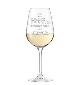 """Leonardo Weinglas """"die besten Erzieherinnen heißen"""" persönliche Gravur"""