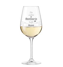 """Leonardo Weinglas """" die coolste Rentnerin """" persönliche Gravur"""