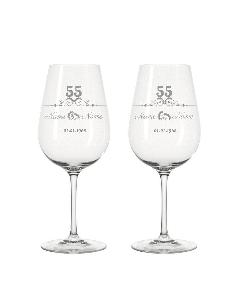Leonardo Immer eine tolle Geschenkidee, das Weinglas Set mit Gravur zur Platinhochzeit im modernen Stil! - Copy
