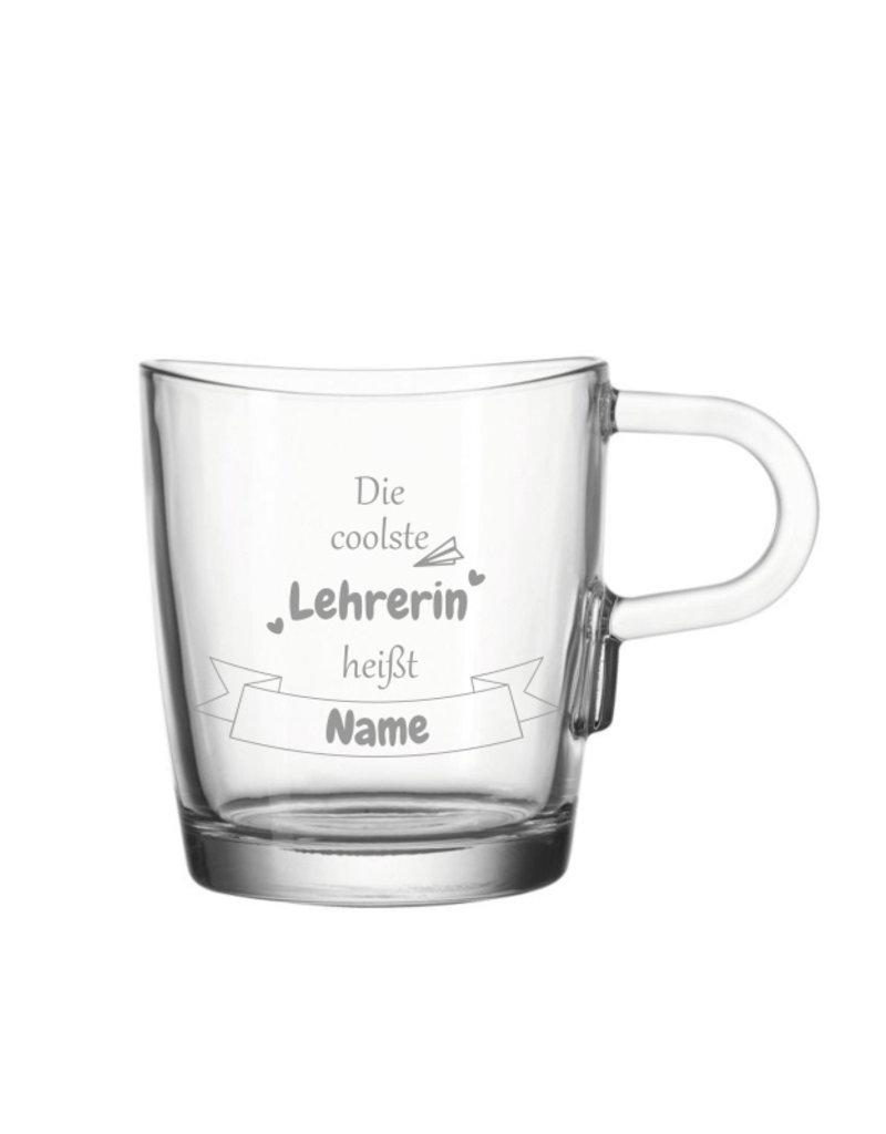 Leonardo Verschenke Freude mit der Glas Tasse mit Gravur für die coolste Lehrerin