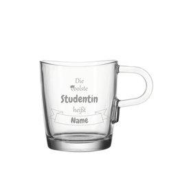 """Leonardo Glas Tasse """"coolste Studentin"""" mit persönlicher Gravur"""