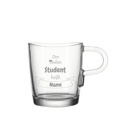 """Leonardo Glas Tasse """"coolster Student"""" mit persönlicher Gravur"""