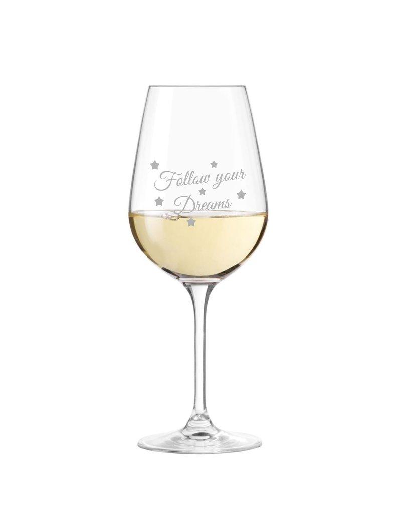 """Leonardo Das Weinglas mit schönem Spruch """"Follow your Dreams"""" eignet sich als perfekte Geschenkidee für deinen Herzensmenschen!"""