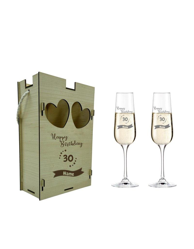 KS Laserdesign Eine schöne Geschenkidee zu vielen Anlässen die Sektgläser im Set mit Geschenkbox aus echtem Holz!