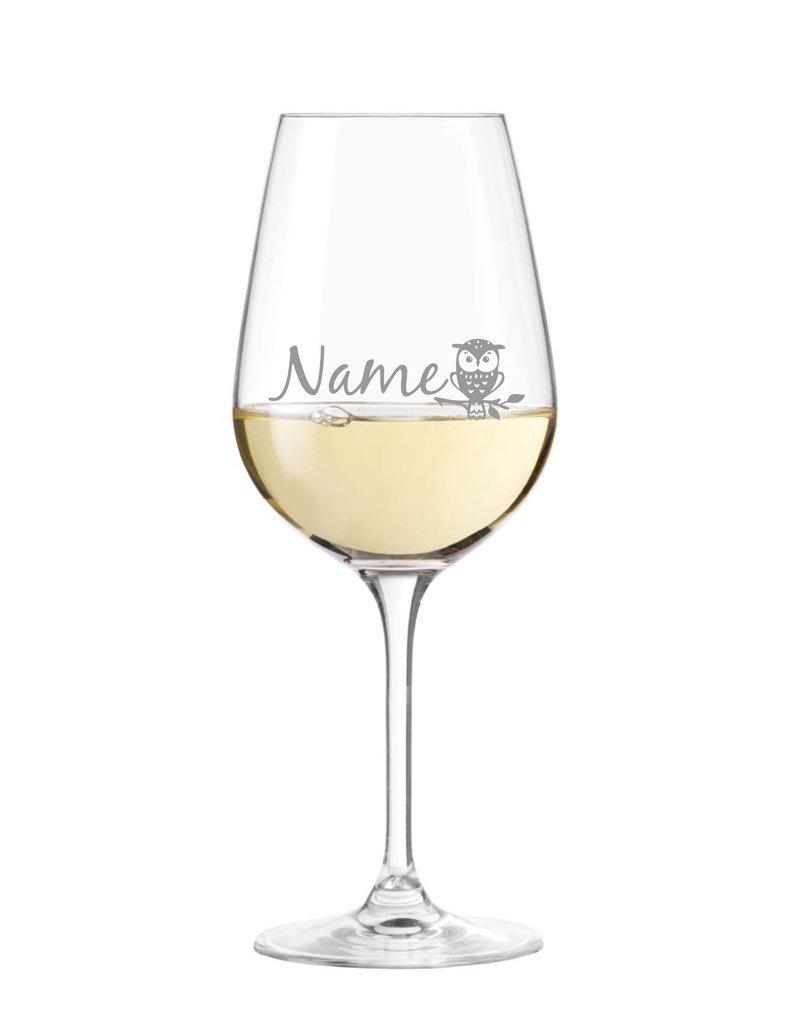 """Leonardo Personalisiere das Weinglas """"Eule Motiv"""" mit Name oder Text nach deinen Wünschen!"""