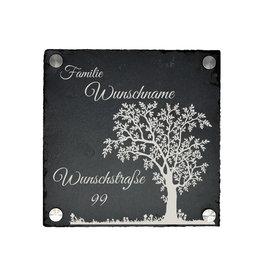 KS Laserdesign Türschild Schiefer 20x20cm mit Baum Motiv Gravur