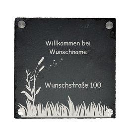 KS Laserdesign Türschild Schiefer 20x20cm mit Pusteblumen Gravur