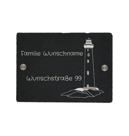 KS Laserdesign Türschild Schiefer22x16cm mit Leuchtturm Gravur