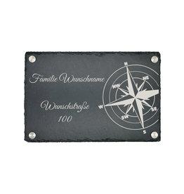 KS Laserdesign Türschild Schiefer 30x20cm mit Kompass Gravur