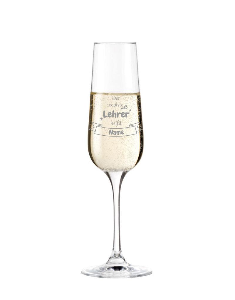 Leonardo Mache das Sektglas für den coolsten Lehrer einzigartig mit deiner persönlichen Gravur !