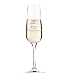 "Leonardo Sektglas ""save water drink champagne"" mit Gravur"