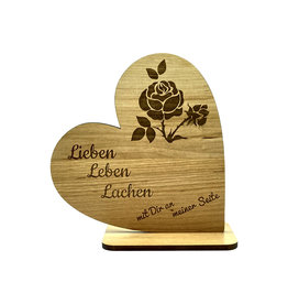 """KS Laserdesign Deko Herz """"Lebe, Liebe, Lache"""" mit Gravur"""