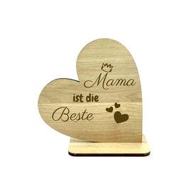 """KS Laserdesign Deko Herz """"Mama ist die Beste'' Gravur"""