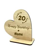 KS Laserdesign Personalisiere das Deko Herz zum 20. Geburtstag mit Wunschname für dein einzigartiges Geschenk!