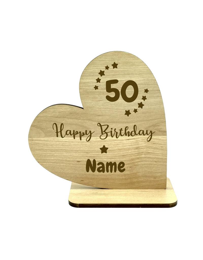 KS Laserdesign Personalisiere das Deko Herz zum 50. Geburtstag mit Wunschname für dein einzigartiges Geschenk!