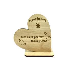 """KS Laserdesign Deko Herz mit Spruch ''zur Freundschaft"""" Gravur"""