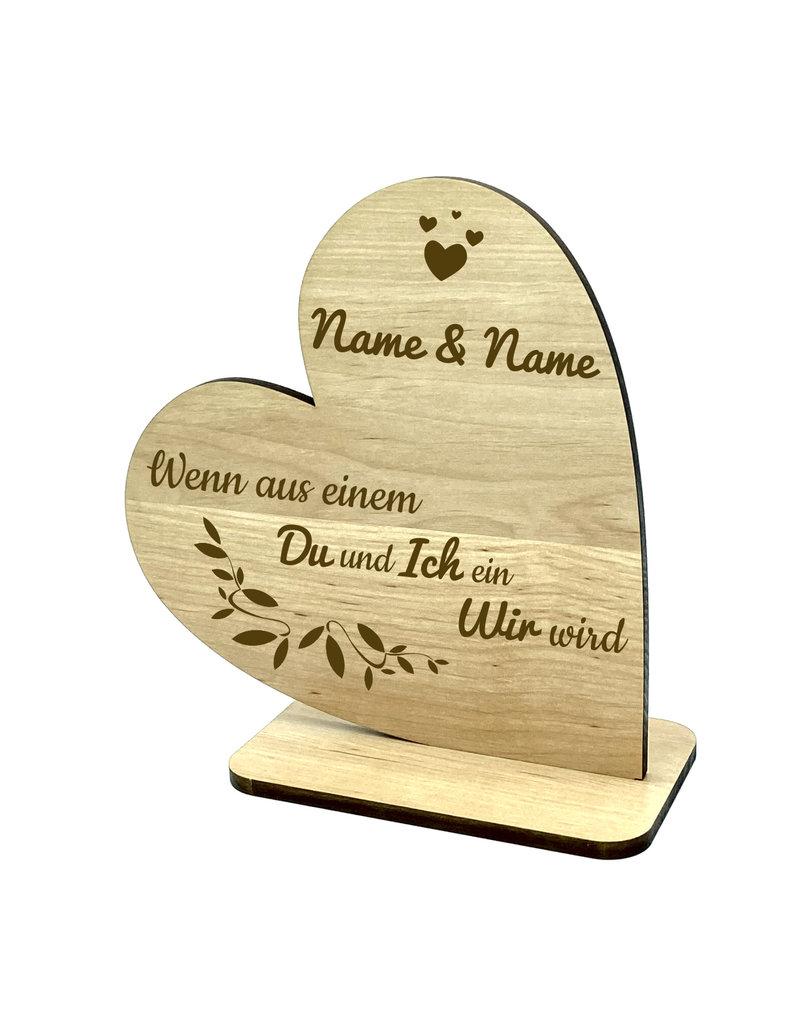 KS Laserdesign Das Deko Herz mit schönem Spruch wenn aus einem Du und Ich ein Wir wird!