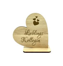 KS Laserdesign Deko Herz '' Lieblingskollegin '' Schriftzug
