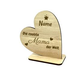 """KS Laserdesign Deko Herz ''coolste Mama"""" persönliche Gravur"""