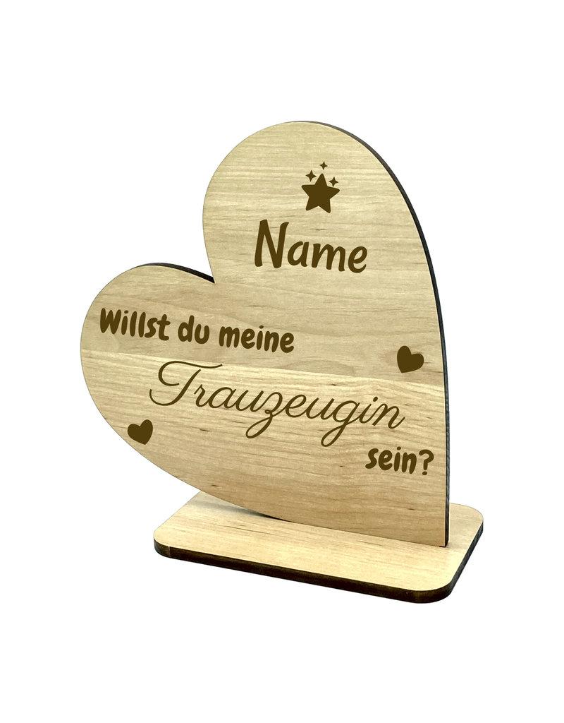 """KS Laserdesign Personalisiere das Deko Herz für """"Willst du meine Trauzeugin sein?"""" mit persönlicher Gravur !"""