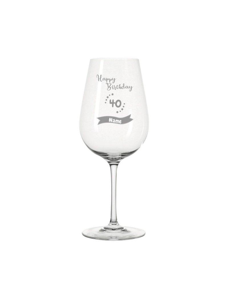 Leonardo Bereite Freude mit dem personalisierten Weinglas zum 40. Geburtstag!