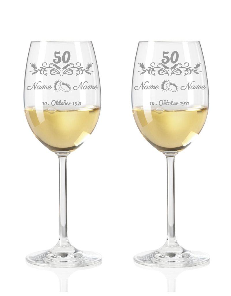 Leonardo Immer eine tolle Geschenkidee, das Weinglas mit Gravur zur goldenen Hochzeit im modernen Stil!