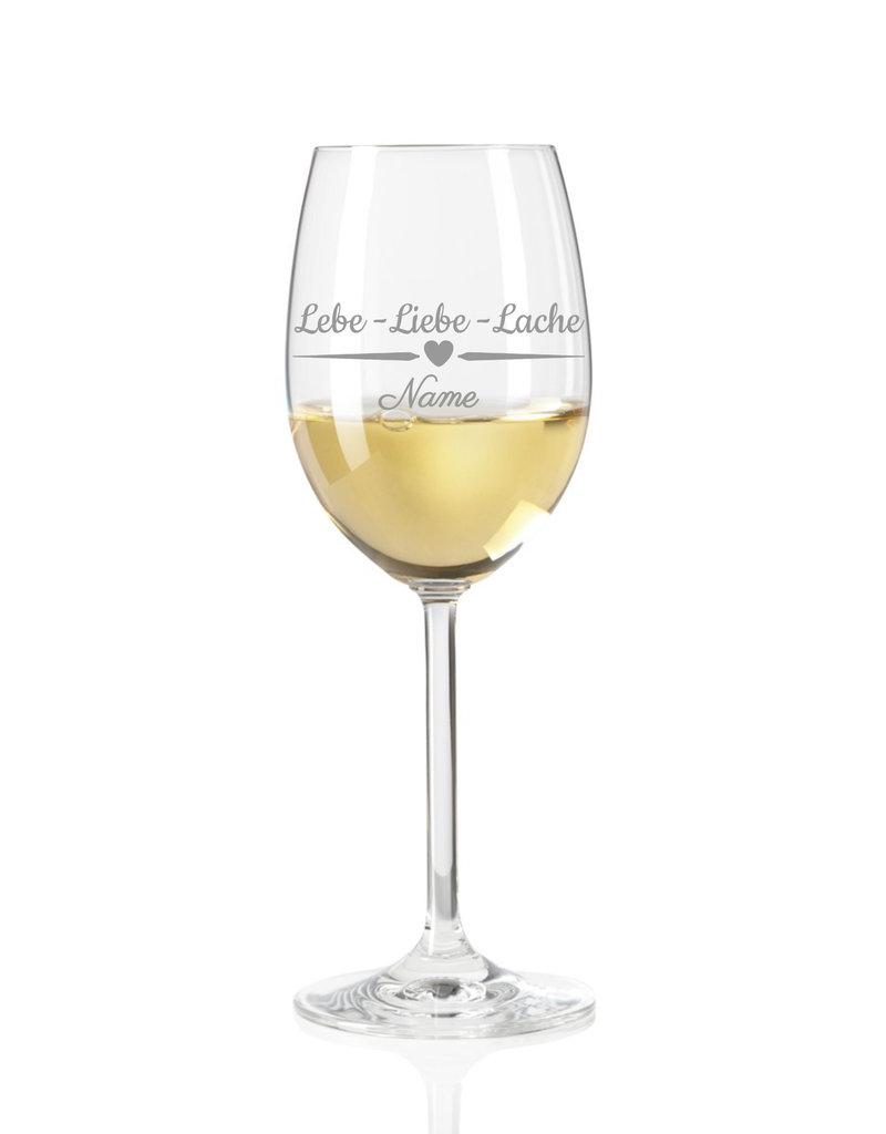 Leonardo Ein Geschenk das von Herzen kommt und mit persönlicher Gravur einzigartig wird! Das Weinglas mit Spruch Lebe, Liebe Lache