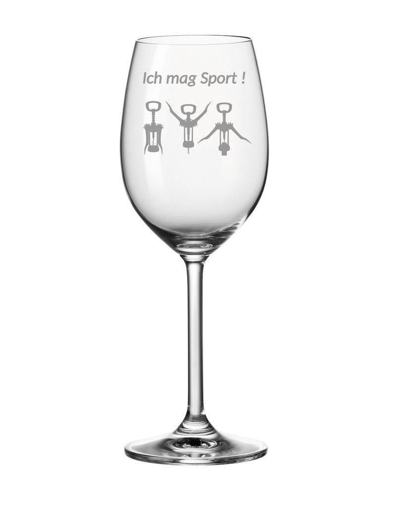 """Leonardo Dank hochwertiger Gravur wird das Weinglas """"ich mag Sport"""" zum einzigartigen Geschenk"""