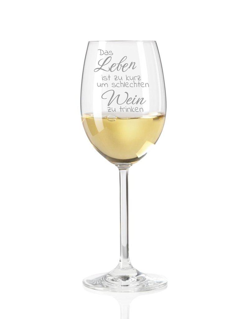 """Leonardo Dank hochwertiger Gravur wird das Weinglas """"Das Leben ist zu kurz..."""" zum einzigartigen Geschenk"""