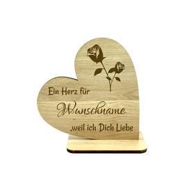 """KS Laserdesign Deko Herz """"Weil ich Dich Liebe"""" persönliche Gravur"""