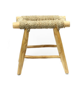 Bazar Bizar Natural Seagrass and Teak Porto Stool