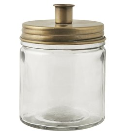 IBLaursen kaarsenpot met mat goudkleurige deksel