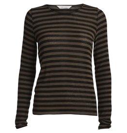 GAI+LISVA Amalia shirt wol/viscose bruin zwart