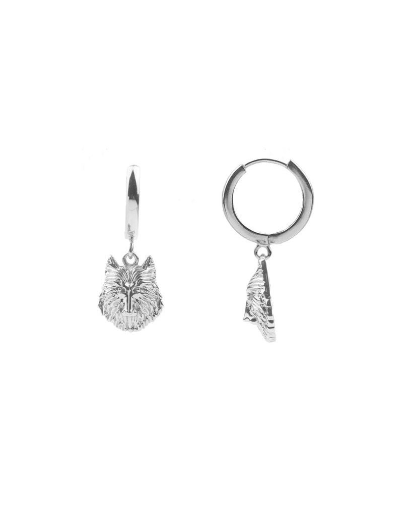 All The Luck In The World Earring 'Wolf' Silver