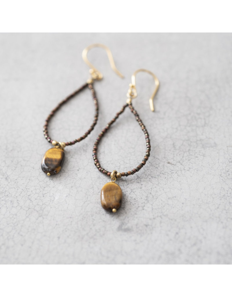 A Beautiful Story Earrings Gemstone 'Tiger Eye' Hand Crochet