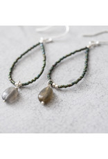 A Beautiful Story Earrings Gemstone 'Labradorite' Hand Crochet