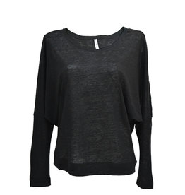 Stef-I BAT-sleeve top black linen