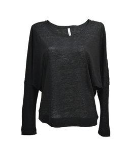 Stef-I BAT-sleeve top zwart linnen