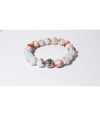 Mr.FRILL Mr.FRILL handmade bracelets - Snakeskin jasper stone - blue, red