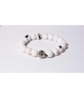 Mr.FRILL Mr.FRILL handmade bracelets - White zebra stone - white, black
