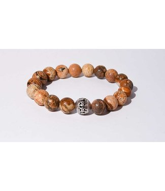 Mr.FRILL Mr. Frill Handmade bracelet - picture jasper stone - brown
