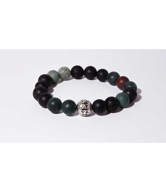 Mr.FRILL Mr. Frill Handmade bracelet - lava stone x indian agate blue agate (matte) - green black