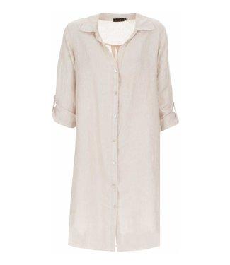 PERLA NERA Perla Nera linnen blouse lang sand 06659
