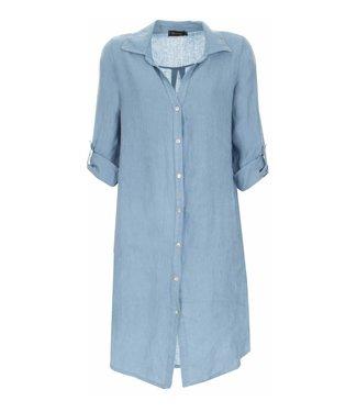 PERLA NERA Perla Nera linnen blouse lang blauw 06659