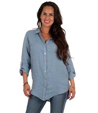 PERLA NERA Perla Nera linnen blouse blue 0803