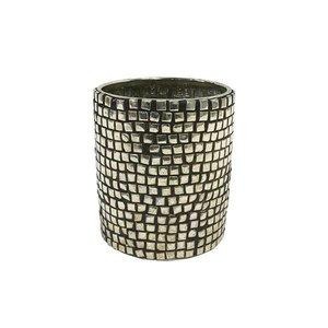 HKliving Tealight holder silver - 7x7x8,5cm