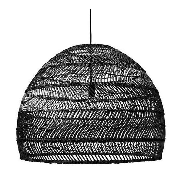 HKliving HKliving Hanglamp handgevlochten riet zwart - 80cm