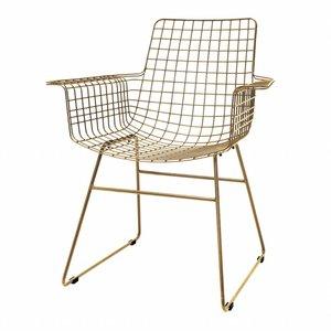 HKliving Draadstoel met armleuningen metaal messing Set van 2